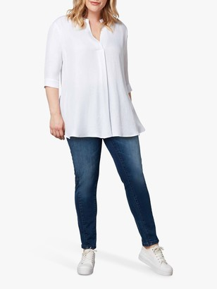 Live Unlimited Curve Chambray 3/4 Sleeve Blouse, White