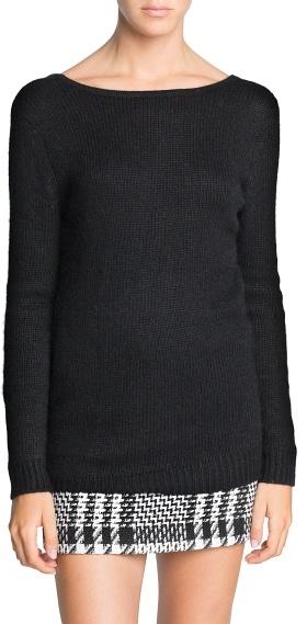 MANGO V-back angora-blend sweater