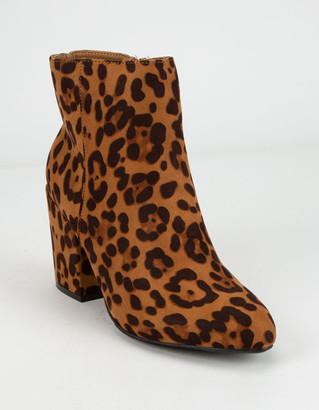 Bamboo Block Heel Leopard Womens Booties
