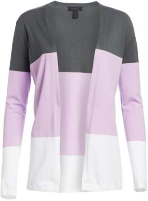 Saks Fifth Avenue Viscose Elite Open Front Colorblock Cardigan