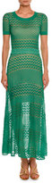 Missoni Short-Sleeve Crewneck Open-Knit Gown, Turquoise