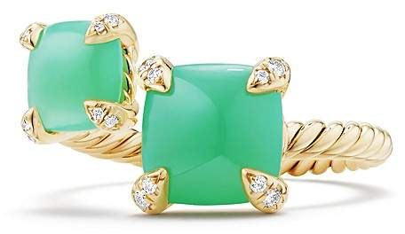David Yurman Ch'telaine Bypass Ring with Chrysoprase & Diamonds in 18K Gold