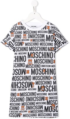 MOSCHINO BAMBINO all over logo T-shirt dress