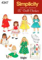 Simplicity Sewing Pattern 4347 Doll Clothes, One