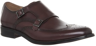 Office Import Brogue Monk Shoes Burgundy Leather