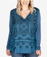 Lucky Brand Trendy Plus Size Embroidered Top