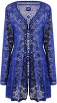 Meaneor Women's Essential Plus Size Lace Open Front Floral Print Waterfall Draping Cardigan L