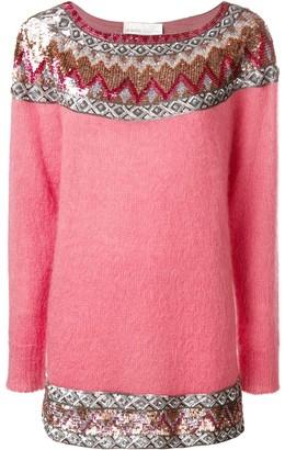 Alberta Ferretti Sequin Embellished Slash Neck Sweater