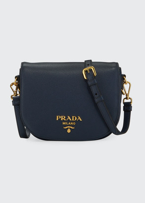 Prada Daino Saddle Bag w/ Removable Web & Leather Straps