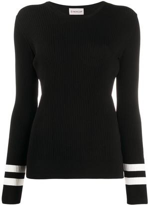 Moncler Contrast-Stripe Rib-Knit Top