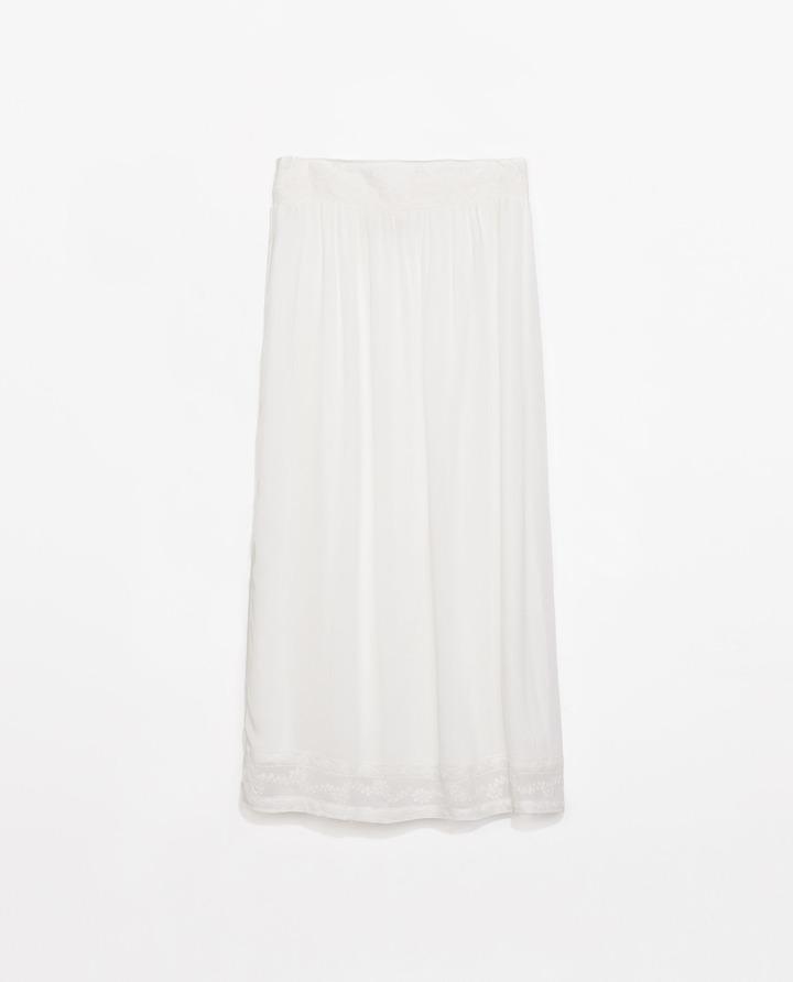 Zara Skirt With Embroidered Waist