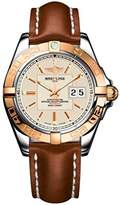 Breitling Galactic 41 men's automatic Watch with silver Dial analogue Display and brown leather Strap C49350L2/G701/425X