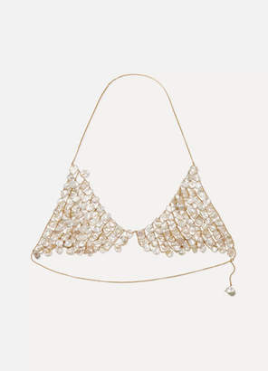Alighieri Gold-plated Pearl Triangle Bra - White