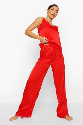 boohoo Eyelash Trim Satin Cami and Trouser Set