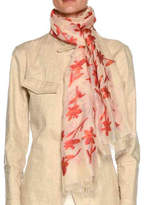 Giorgio Armani Floral-Print Scarf with Raw-Edge
