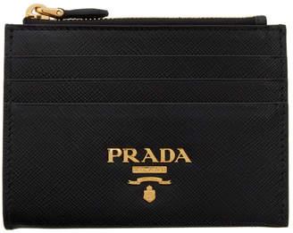 Prada Black Zipped Logo Card Holder