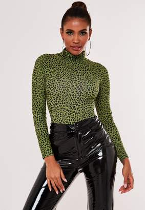 Missguided Green Leopard Print Funnel Neck Bodysuit