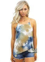 West Coast Wardrobe High Seas Hi-Low Tie Dye Tank in Navy Multi