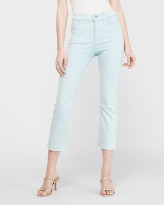 Express High Waisted Denim Perfect Blue Cropped Flare Jeans