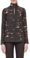 Akris Gnu Print Wool Mousseline Top