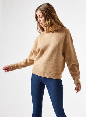 Miss Selfridge Camel Cowl Neck Knitted Jumper