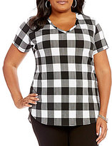 Peter Nygard Plus Checked Hi-Low Tee