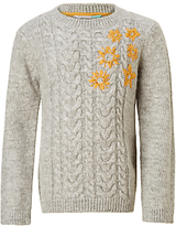 John Lewis Girls' Cable Embroidery Flowers Jumper, Grey Marl