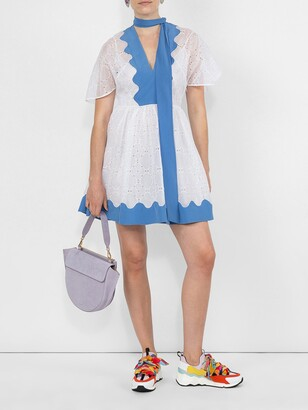Valentino cotton eyelet dress white