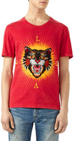 Gucci Cotton T-Shirt with Angry Cat Appliqu&233