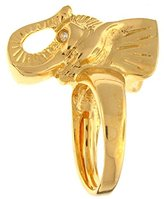 Kenneth Jay Lane Gold Plated Elephant Head with Crystal Eye Ring