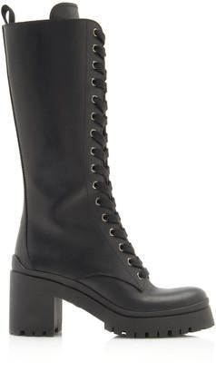 Miu Miu Lace-Up Leather Knee-Length Combat Boots