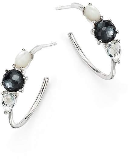 Ippolita Sterling Silver Rock Candy® Mother-of-Pearl Doublet, Hematite Doublet & Clear Quartz Hoop Earrings