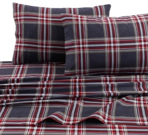 Tribeca Living Heritage Plaid 5-ounce Flannel Printed Extra Deep Pocket Twin Sheet Set Bedding