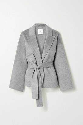Anine Bing - Luna Belted Wool And Cashmere-blend Jacket - Gray