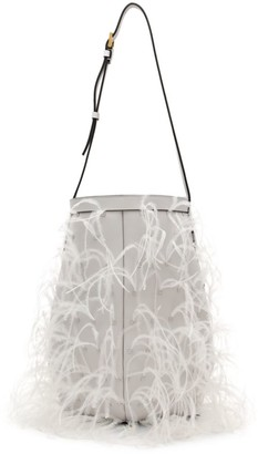 Valentino By Your Side Feather-Trimmed Leather Hobo Bag