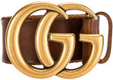 Gucci Leather Double G Buckle Belt in Brown | FWRD