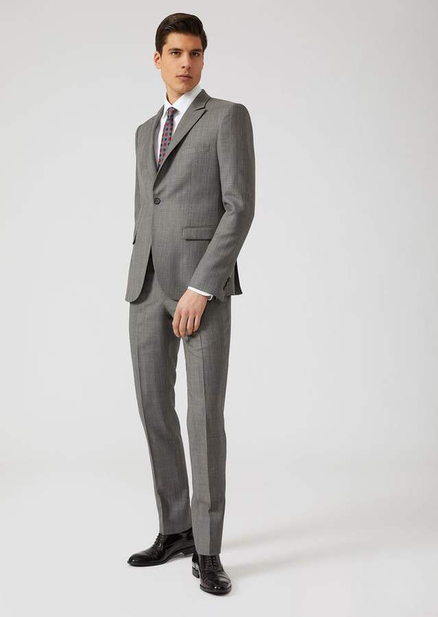 Emporio Armani Single-Breasted Slim Fit Suit In Wool And Silk