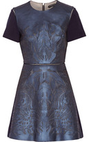 Catherine Deane Laser-Cut Leather, Mesh And Ponte Mini Dress