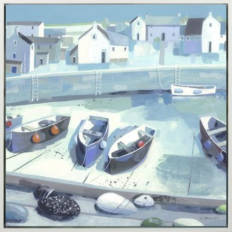 Claire Henley - Pebble Collection Embellished Framed Canvas Print, Blue, 64 x 64cm