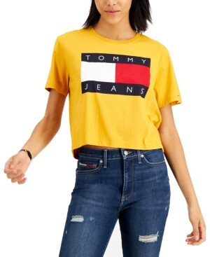 Tommy Jeans Cotton Cropped Flag T-Shirt