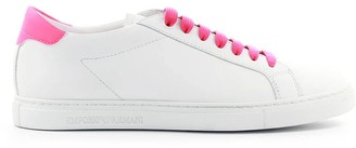 Emporio Armani White Neon Pink Nappa Leather Sneaker