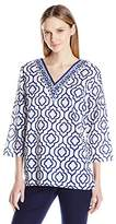 Caribbean Joe Women's Three Quarter Sleeve V Printed Tunic with Contrast Neck Trim