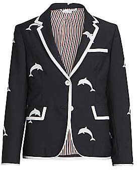 Thom Browne Women's Narrow Shoulder Classic Dolphin Embroidered Blazer