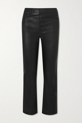 Joseph Den Cropped Leather Straight-leg Pants - Black