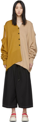 Marni Convertible Yellow and Beige Tied Sleeves Cardigan