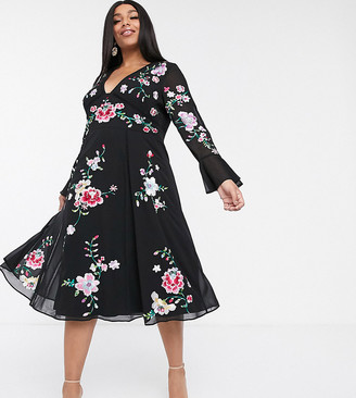 ASOS DESIGN Curve embroidered midi dress with lace inserts