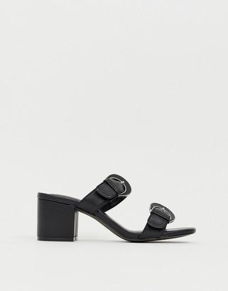 Miista Eeight E8 by black leather mid block heel buckle detail sandals