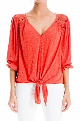 Max Studio Women's Lace Trim V Neck 3/4 Sleeve Knot Front Textured Knit Top