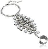 """Steve Madden Glitz Glam"""" Shaky Faceted Bead Silver Hang Ring Bracelet"""