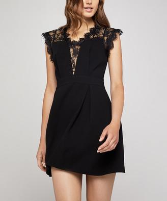 BCBGeneration Women's Casual Dresses BLACK - Black Lace-Inset A-Line Dress - Women